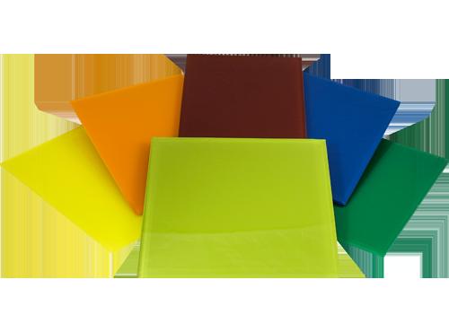 Muestras de vidrio en colores