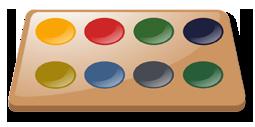 Dibujo de una paleta de colores artística